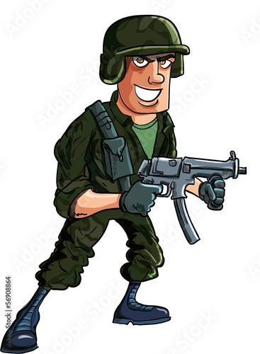 Poster Militaire Cartoon soldier with sub machine gun