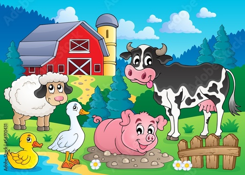 Fotobehang Boerderij Farm animals theme image 3