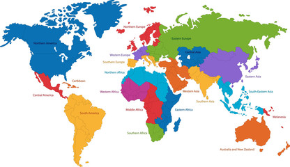 fototapeta mapa świata kolorowe obrysy