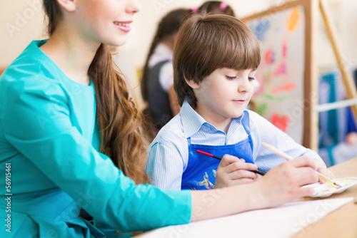 Fotografía  teacher and student in the classroom
