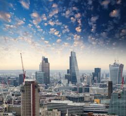 London. Beautiful city skyline at dusk, aerial view