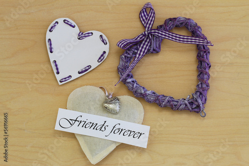 Fotografie, Obraz  Friends forever card with wooden, wicker and canvas hearts