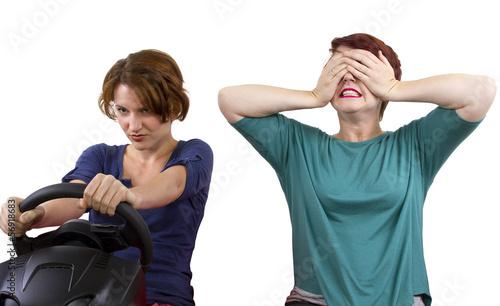 Fotografia, Obraz  reckless driver and scared female passenger on white background