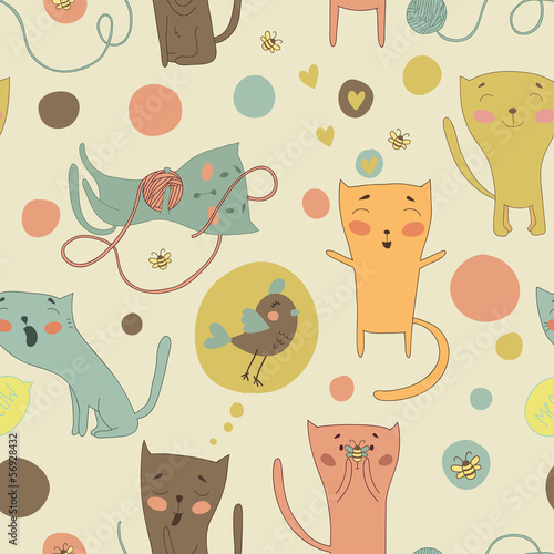Cartoon cats, bird and toys on a bright background.
