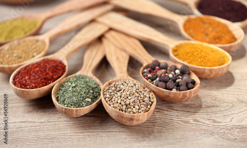 Foto auf AluDibond Gewürze 2 Assortment of spices in wooden spoons on wooden background
