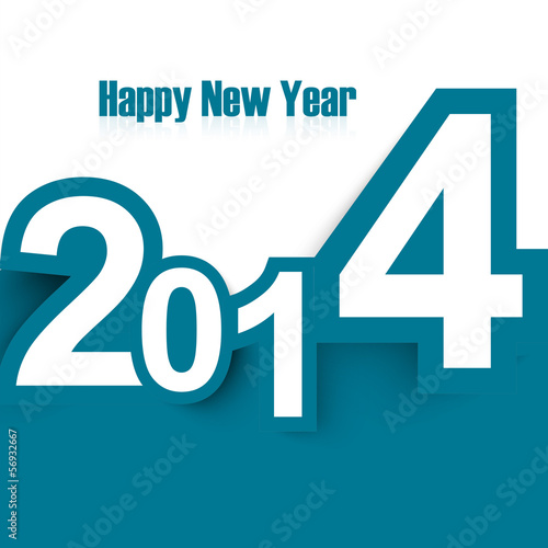 Poster  Happy New Year 2014 stylish colorful design