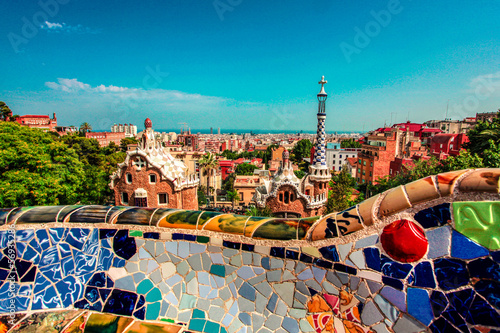 Fotografie, Tablou The famous Park Guell in Barcelona, Spain.