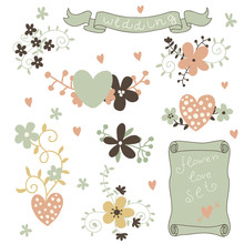 Retro Flowers In Vector. Cute ...