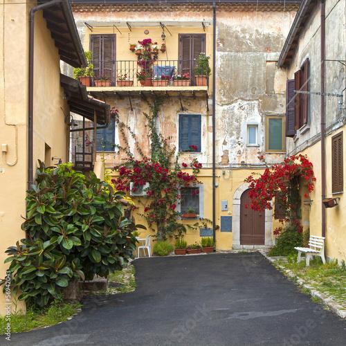 Old courtyard in Terracina, Italy