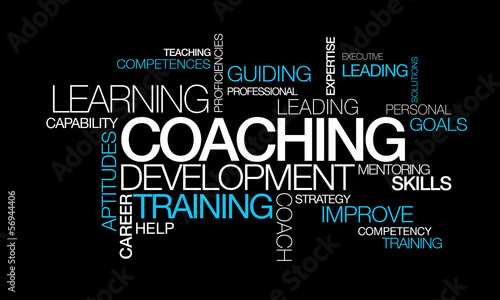 Coaching development training words tag cloud video illustration #56944406