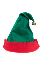 Green And Red Elf Hat Isolated...