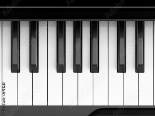 Classic piano keyboard close-up shot