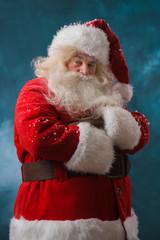 Santa Claus standing outdoors at north pole