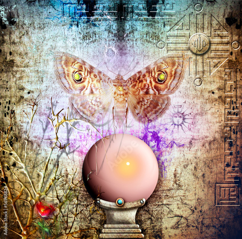 Photo Stands Imagination Crystal ball and soul moth