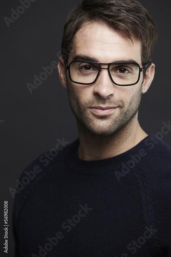 Fototapety, obrazy: Portrait of mid adult man wearing glasses