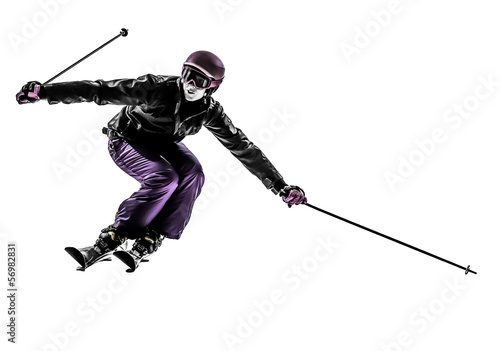 Fotomural one woman skier skiing slaloming  silhouette