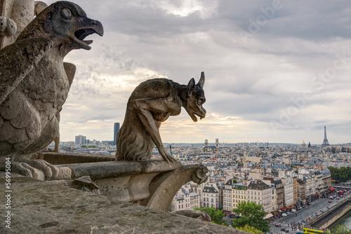 Stampa su Tela Chimera (gargoyles) of Notre Dame de Paris cathedral, France