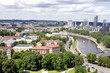 Vilnius, Lithuania. Top view of the old city and the new modern