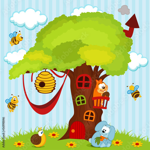 tree house with animals - vector illustration