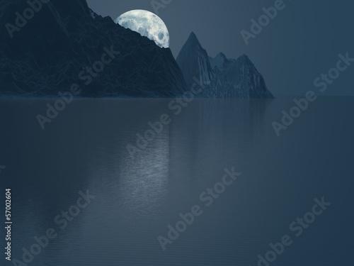 Poster Pleine lune Moon behind mountains