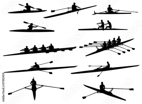 Stampa su Tela rowing silhouettes - vector