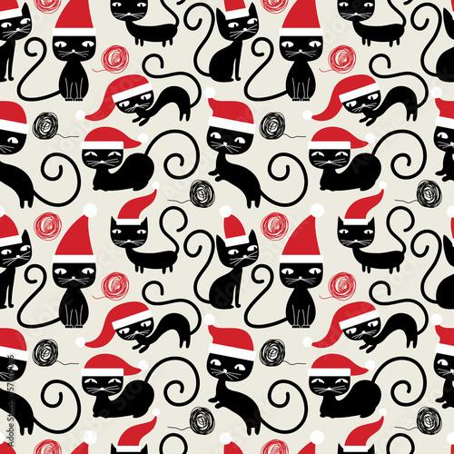 Boże Narodzenie koty wzór. Ładny zabawny wzór dowcip