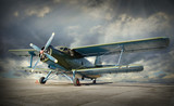 Retro style picture of the biplane. Transportation theme. - 57011832