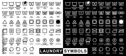 Fotografie, Obraz  Icon set of laundry symbols
