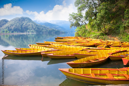 Wall Murals Nepal Fishing boat at Bengas lake in Pokhara , Nepal.