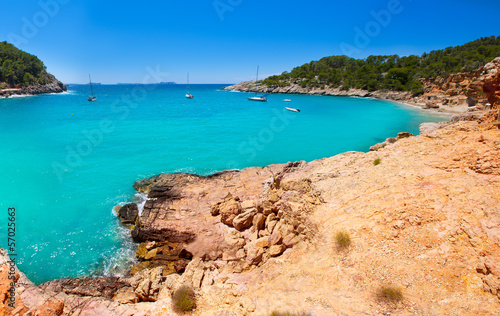 Poster Turquoise Ibiza cala Saladeta in san Antonio Abad at Balearic