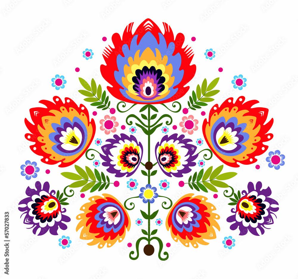 Fototapeta ludowy wzór - kwiaty