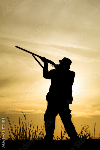 Poster Chasse Hunter With Shotgun in Sunset