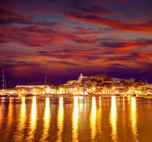 Eivissa Ibiza Town Downtown At Sunset In Balearic