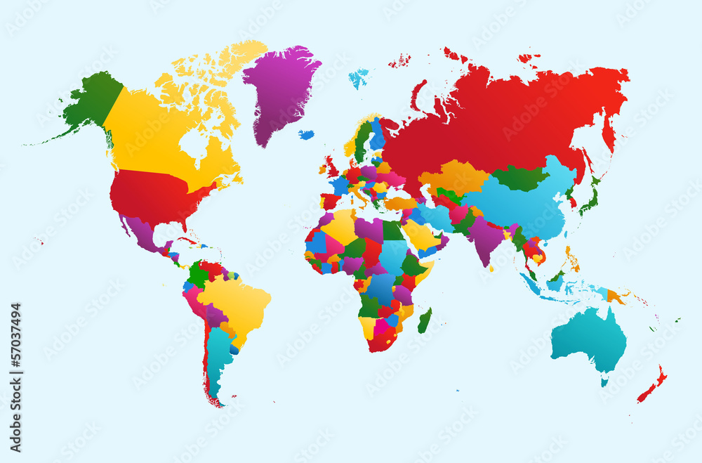 Fotografie, Obraz  World map, colorful countries illustration EPS10 vector file.