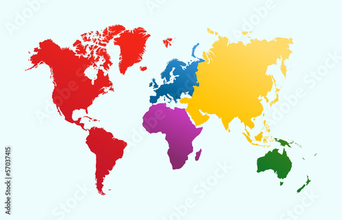 Photo  World map, colorful continents atlas EPS10 vector file.