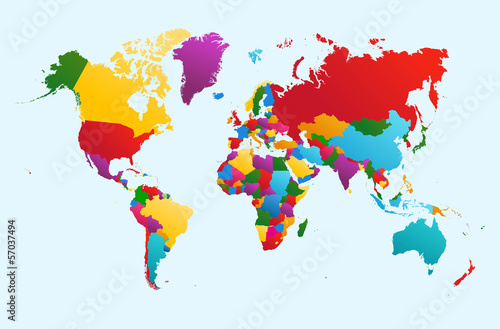 Fotografia  World map, colorful countries illustration EPS10 vector file.