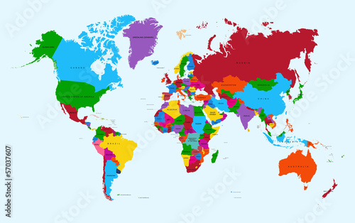 World map, colorful countries atlas EPS10 vector file. Fototapeta