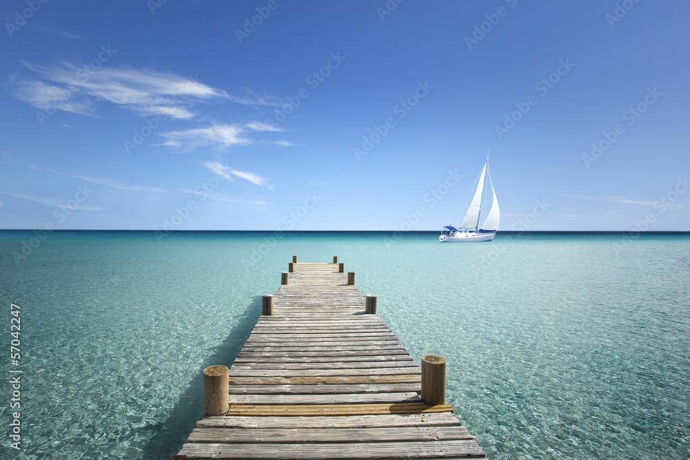 Fototapety, obrazy: Drewniana kładka na morzu