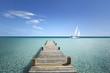 Leinwandbild Motiv Passerelle en Bois sur ma Mer