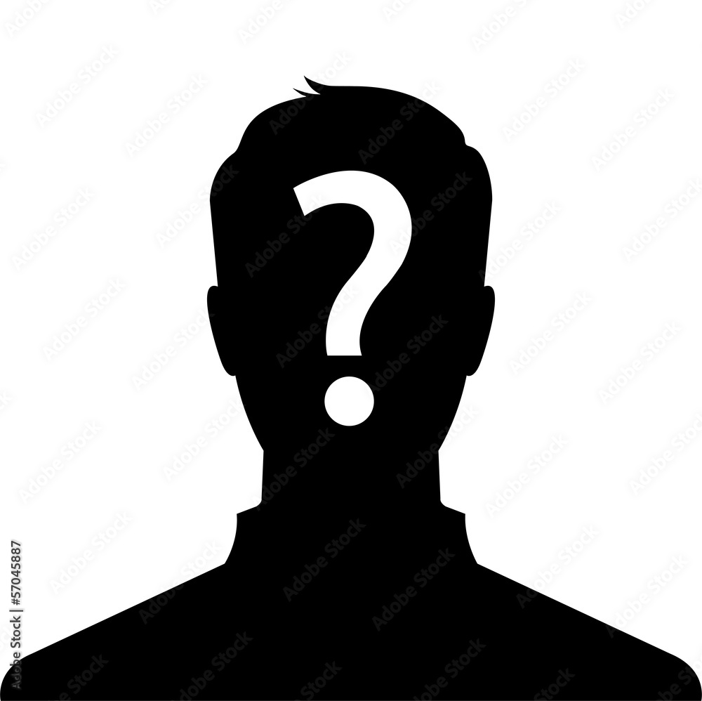 Fototapeta Anonymous man silhouette profile picture with question mark