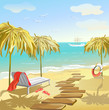 seascape with umbrellas and sunbed