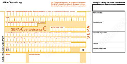 Fotografía  SEPA Euro Überweisungsformular mit Einzahlungsbeleg