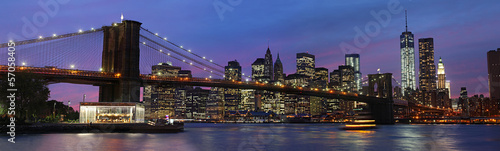 Brooklyn Bridge and Manhattan at sunset - 57058405
