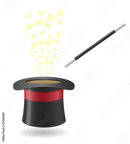 Canvas Print magic wand and cylinder hat vector illustration