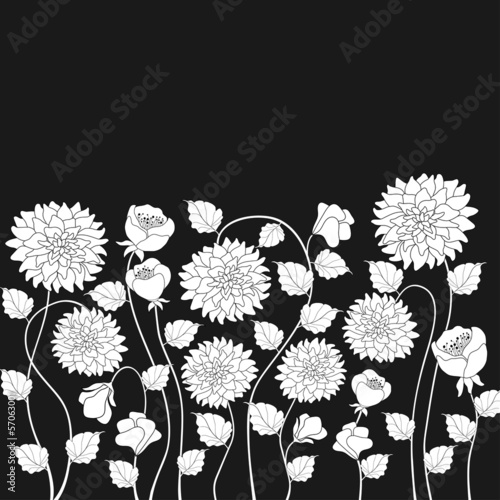 Fotoposter Bloemen zwart wit Floral background