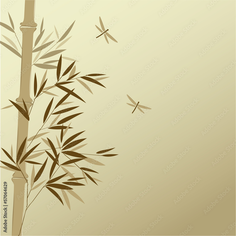 Bamboo with dragonflies in Chinese painting style