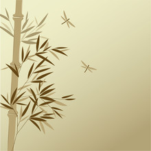 Bamboo With Dragonflies In Chi...