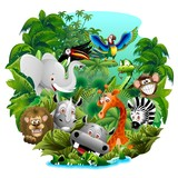 Wild Animals Cartoon on Jungle-Animali Selvaggi nella Giungla
