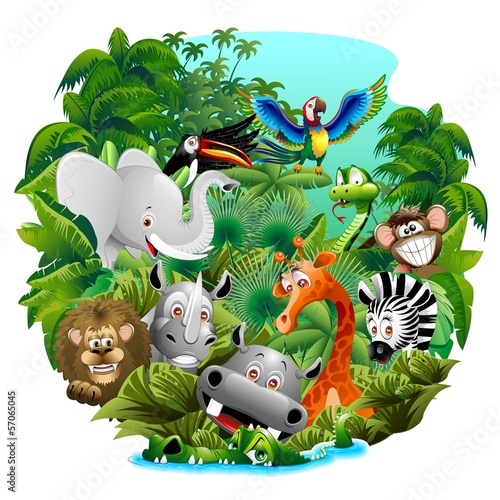 Garden Poster Draw Wild Animals Cartoon on Jungle-Animali Selvaggi nella Giungla