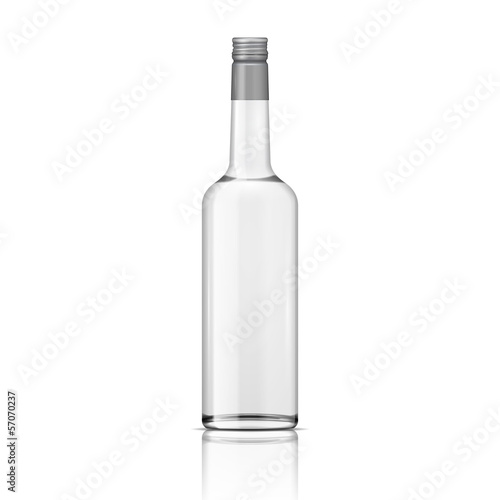Fotografia  Glass vodka bottle with screw cap.